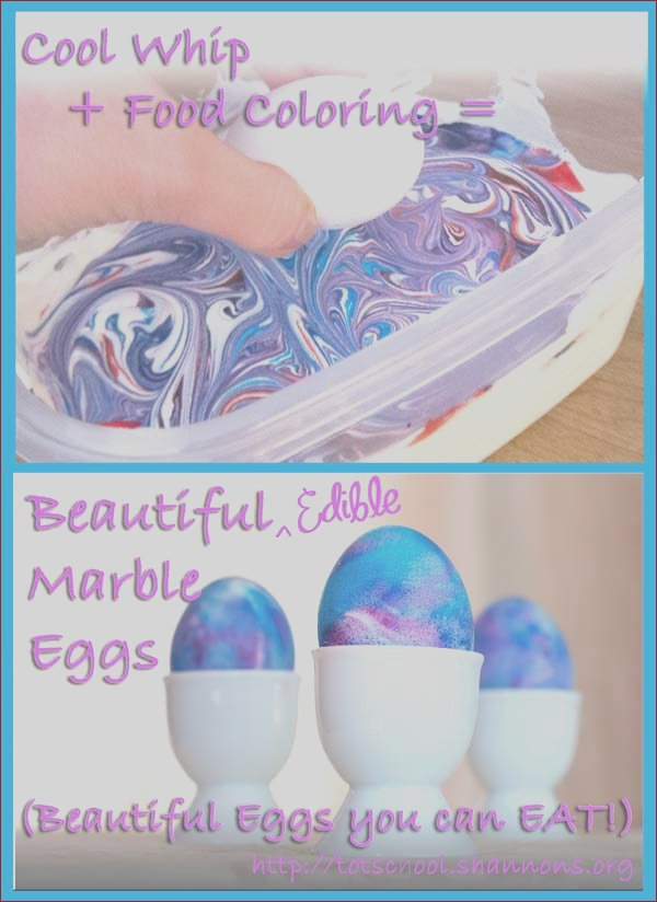 dye easter eggs with cool whip and food coloring