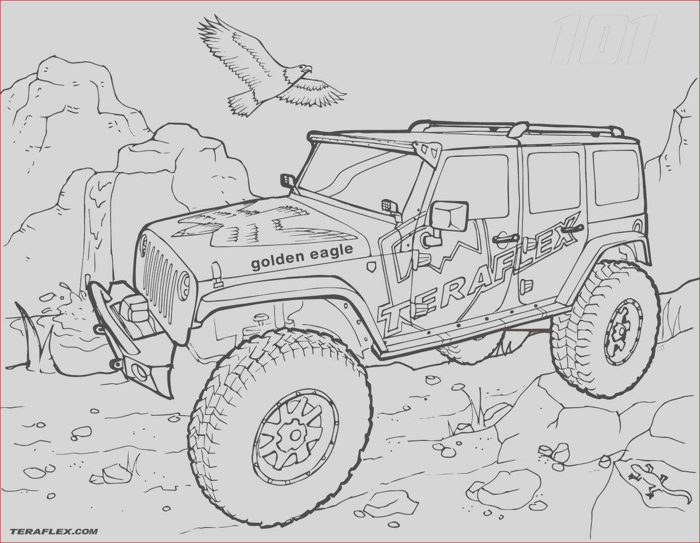 powerful golden eagle jeep coloring pages