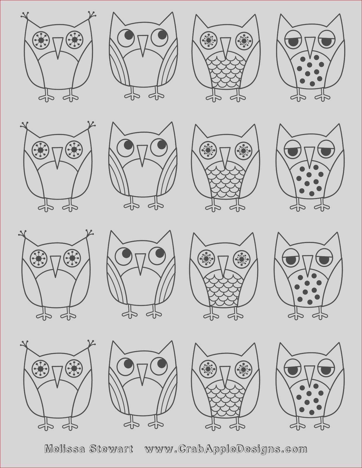 owls coloring page day 7 of 7