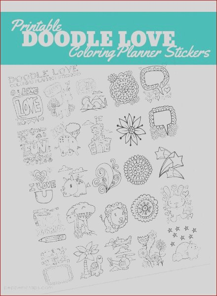 doodle love coloring planner stickers
