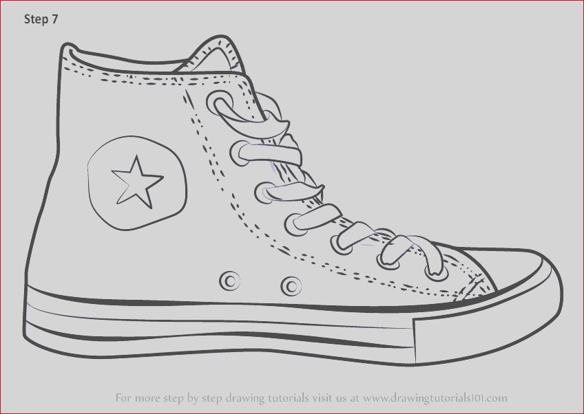 how to draw converse shoe
