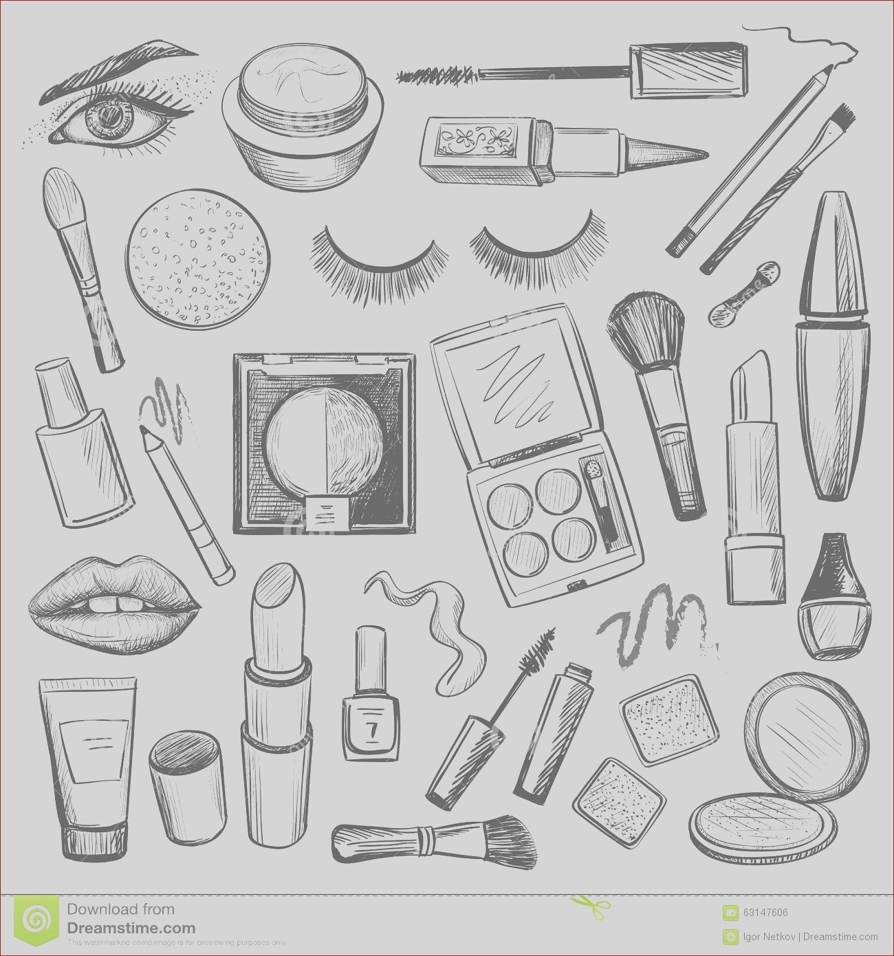 stock illustration hand drawn beauty makeup icons set excellent vector illustration eps image