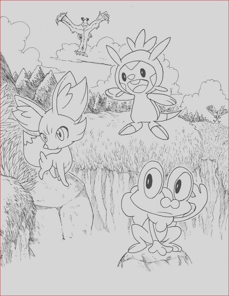 Pokemon X and Y Starters Lineart