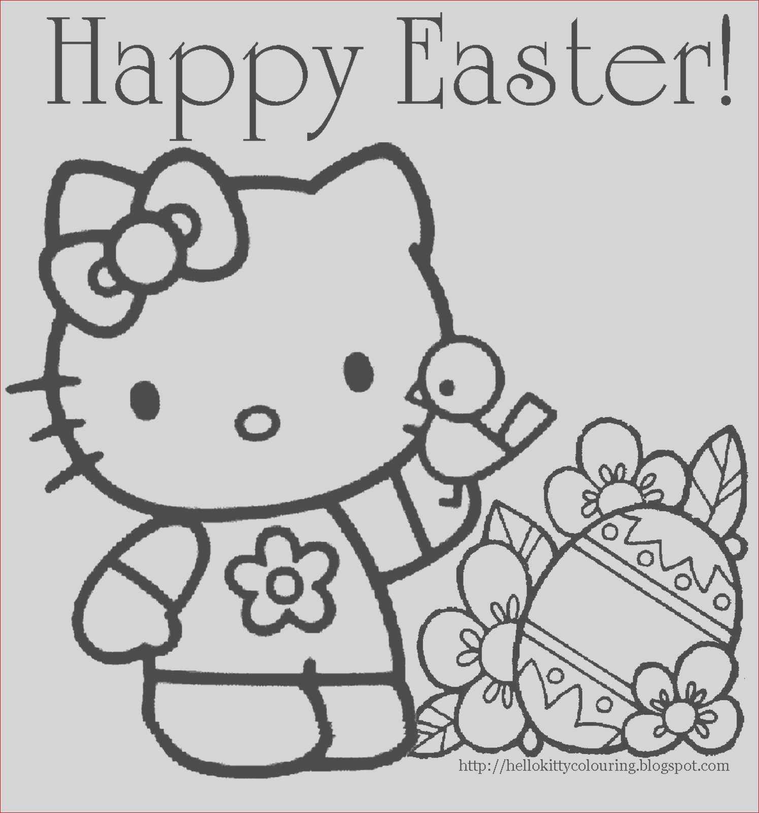 hello kitty easter coloring page