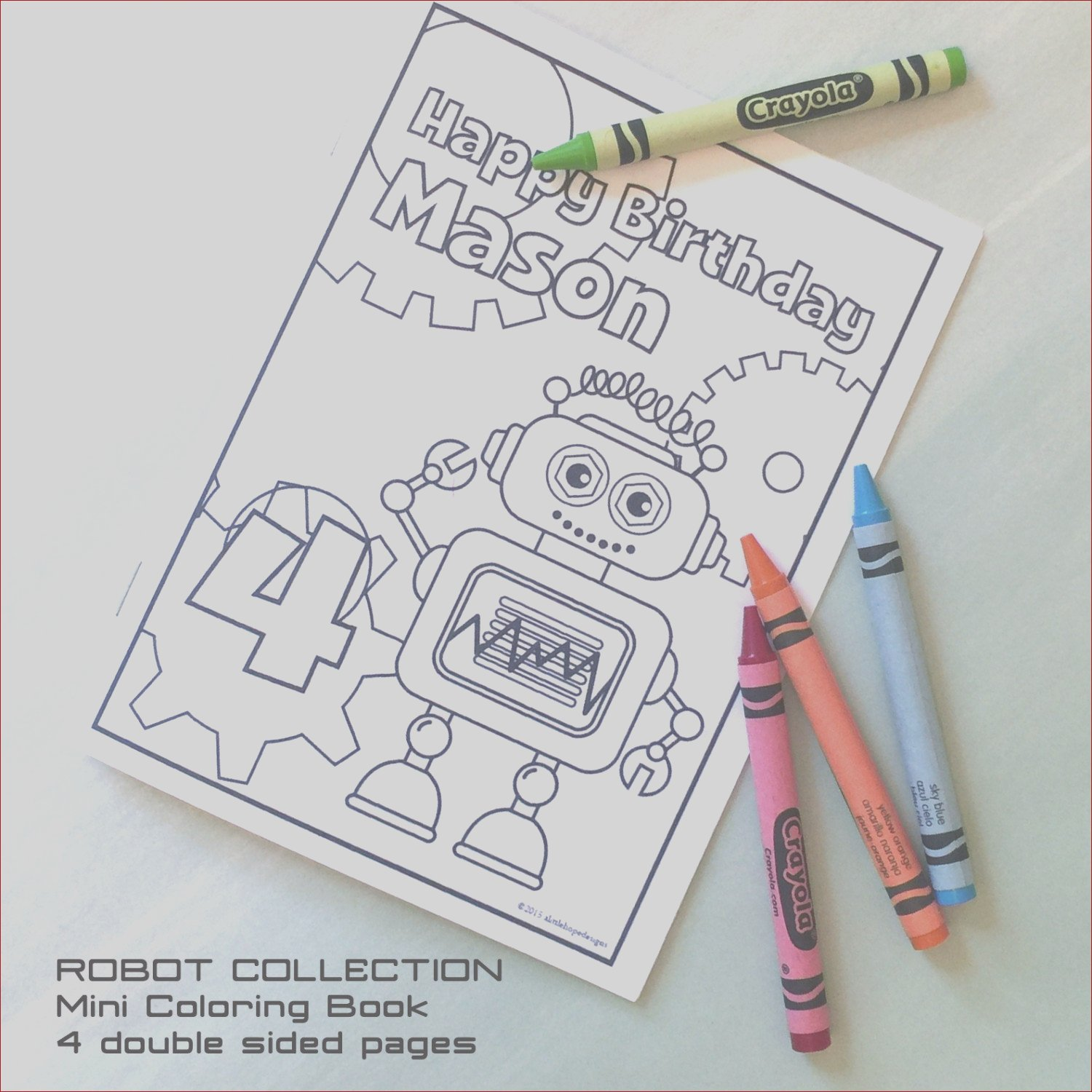 coloring book robot party mini coloring