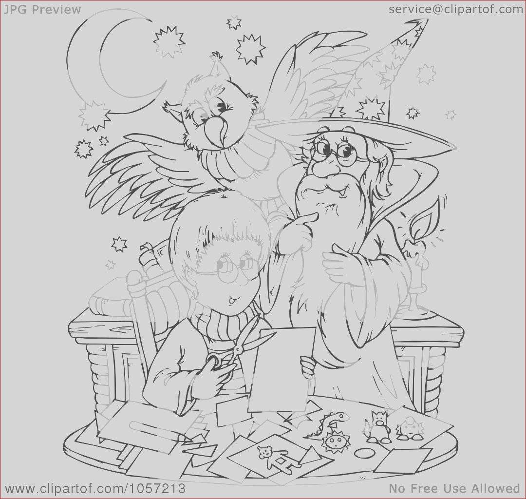 coloring page outline of a boy wizard and owl