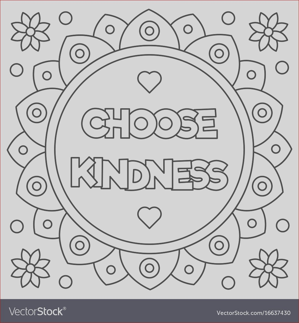 choose kindness coloring page vector