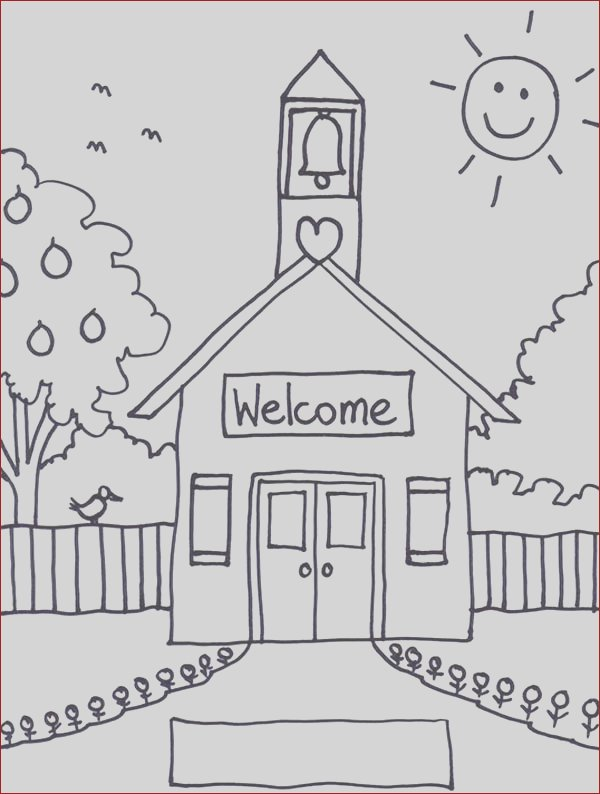 wel e to school house coloring page