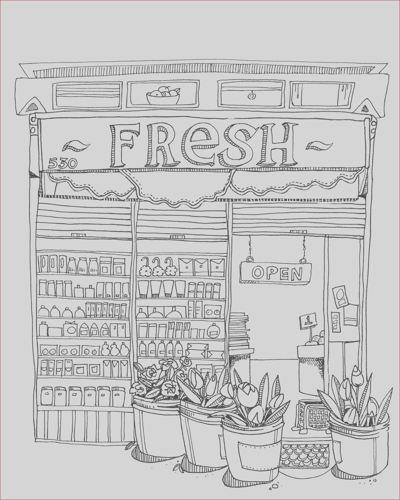 coloring pages and urban sketching