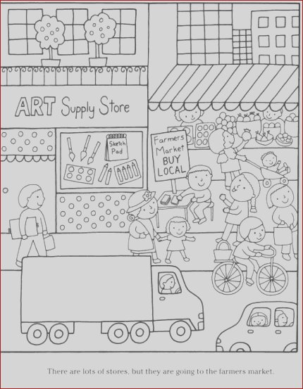colouring pages grocery store