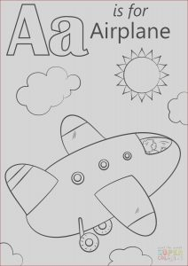 Coloring Letter A Beautiful Images Letter A is for Airplane Coloring Page
