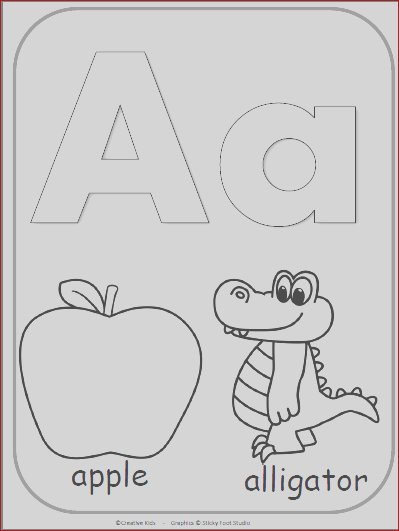 696 letter a alphabet card for coloring
