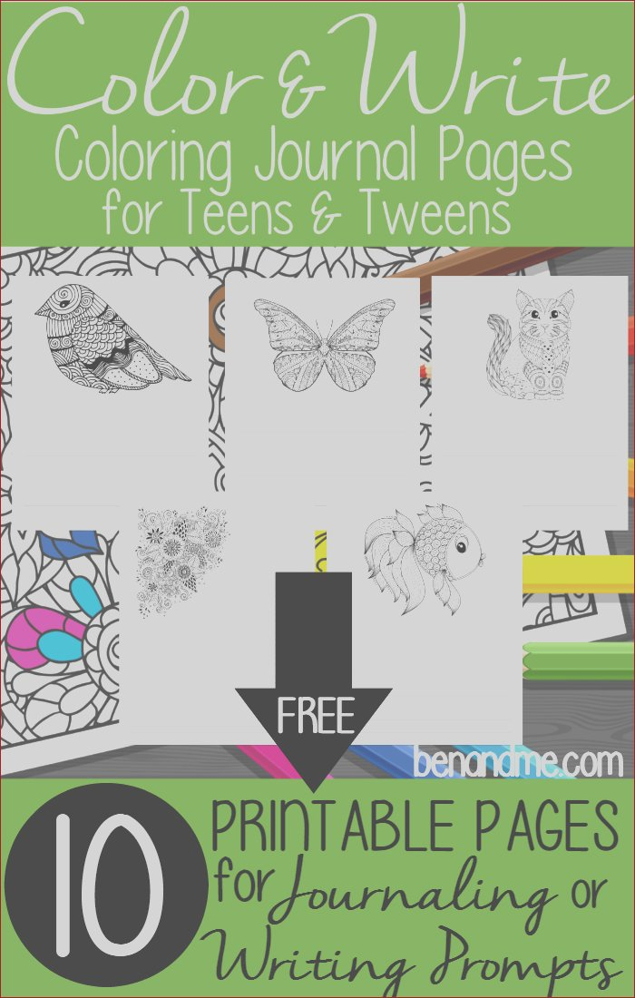 free color write coloring journal pages for teens and tweens