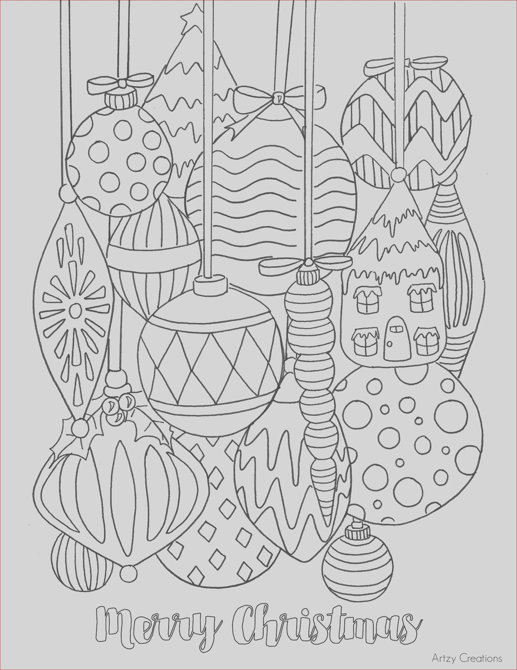 free christmas ornament coloring page