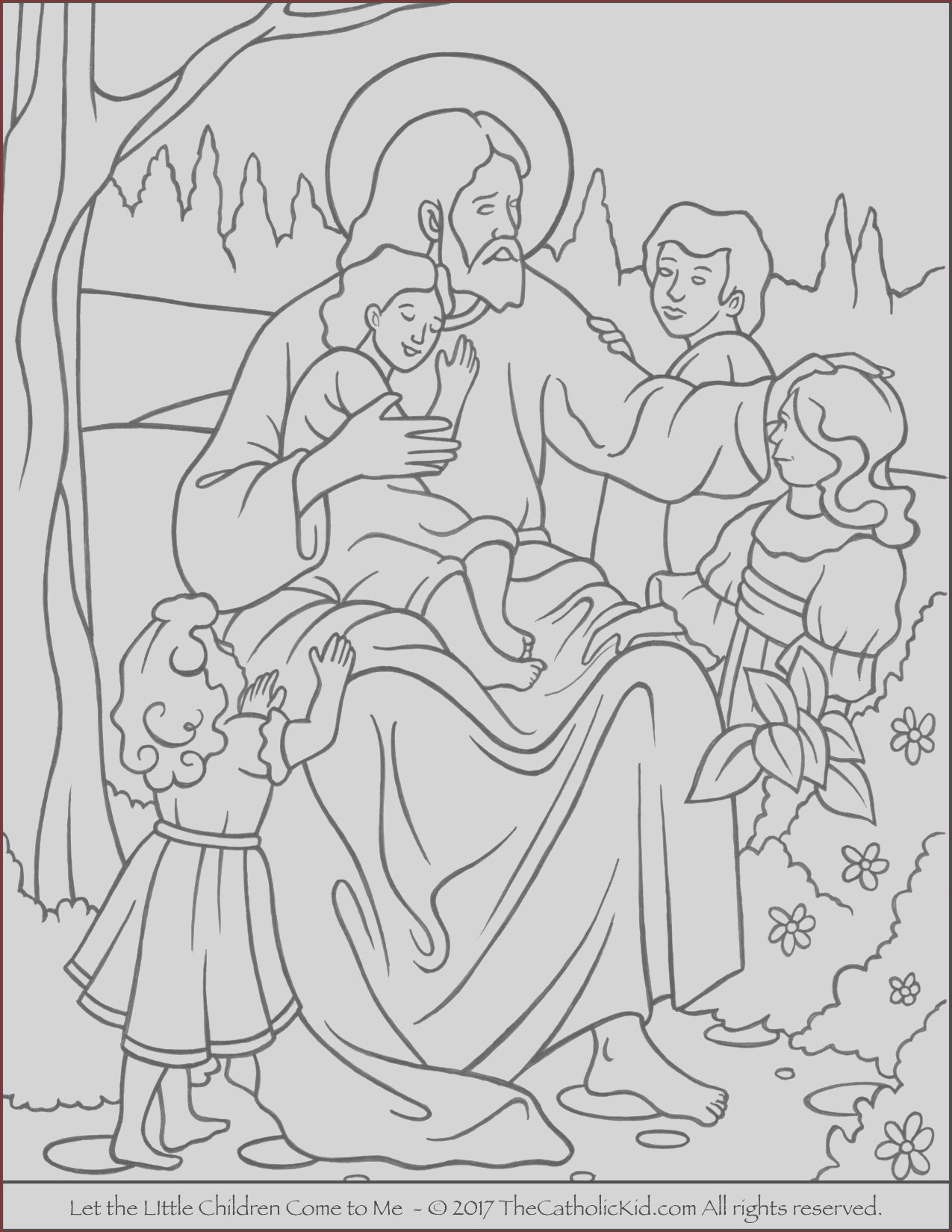 jesus let the little children e to me coloring page
