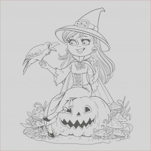 Coloring Pages Halloween Elegant Images Halloween Smiling Witch and Crow Halloween Adult