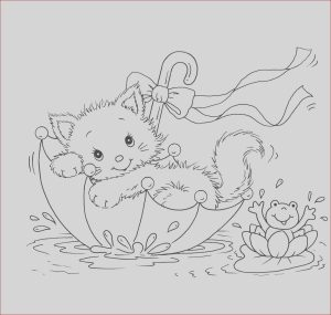 Kitty Cat Coloring Pages New Image Kitty Cat and Frog In Umbrella Coloring Pages
