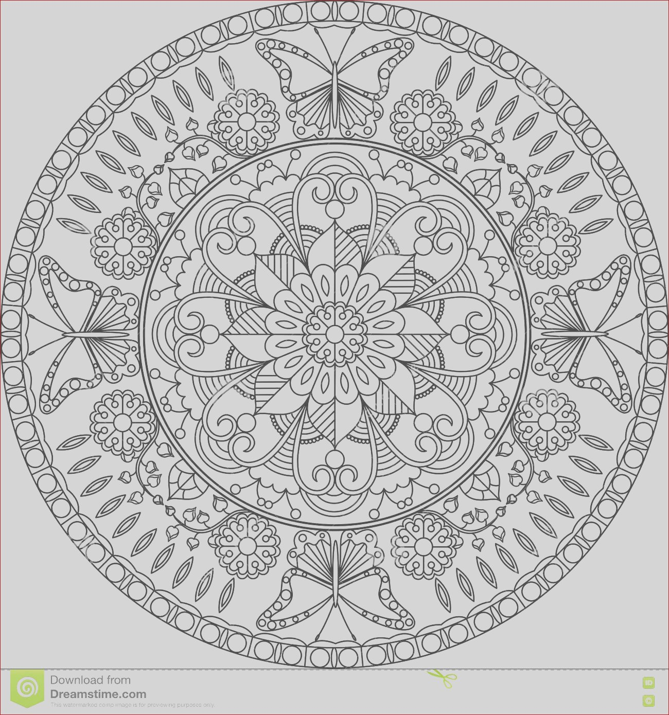 stock illustration adult coloring page mandala flowers butterflies book pages adults zentangle rest relaxing meditation illustration image