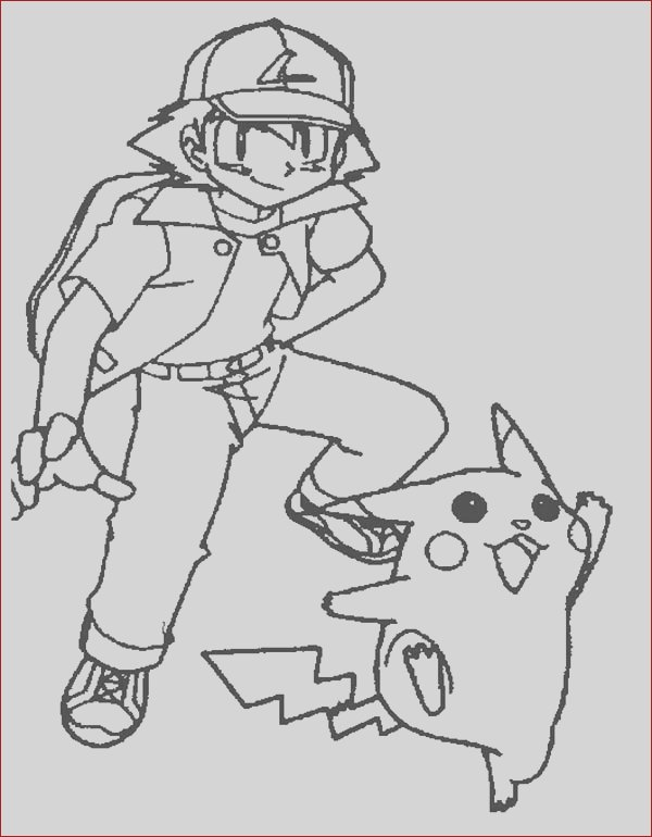 ash ketchum and joyful pikachu on pokemon coloring page