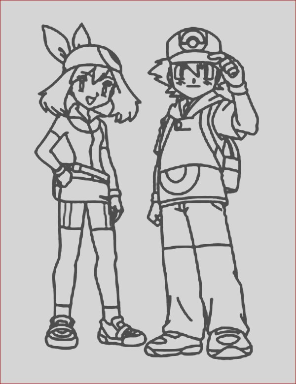 ash ketchum posing with beautiful misty on pokemon coloring page