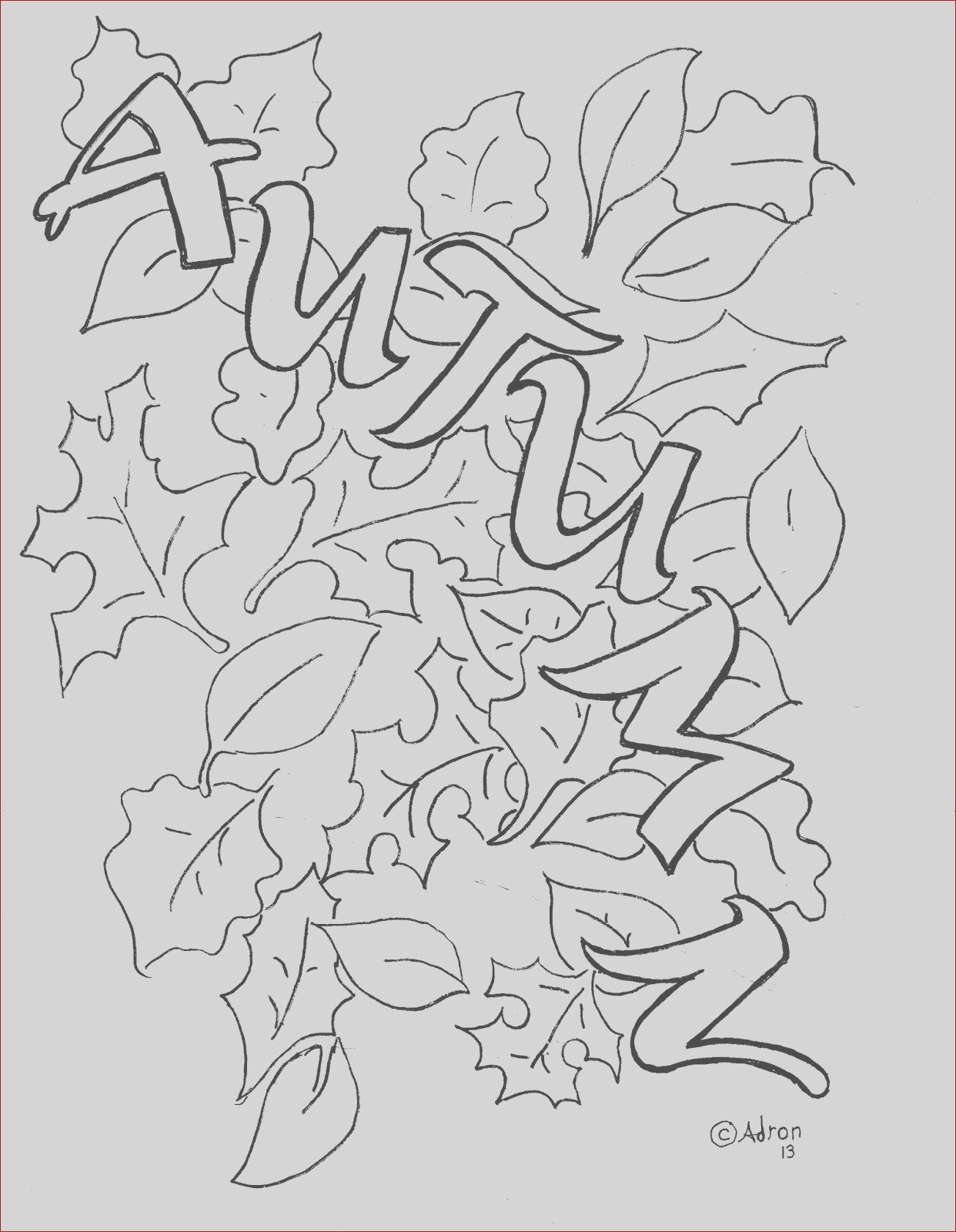 autumn leaves coloring page free