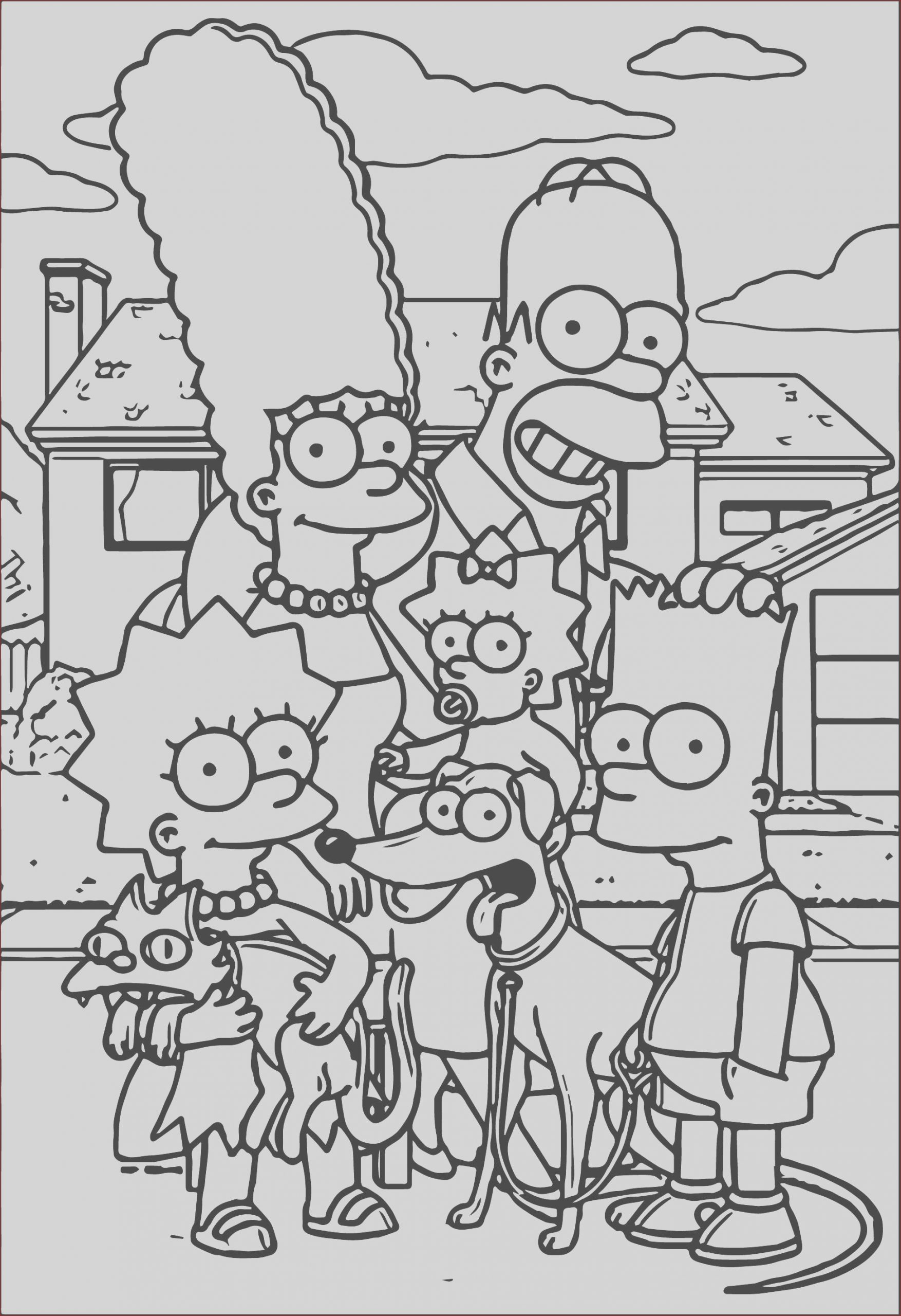 simpsons family street coloring page