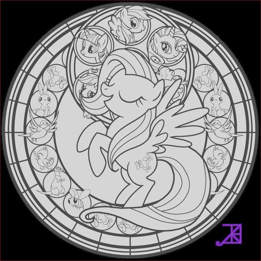 Stained Glass Fluttershy line art