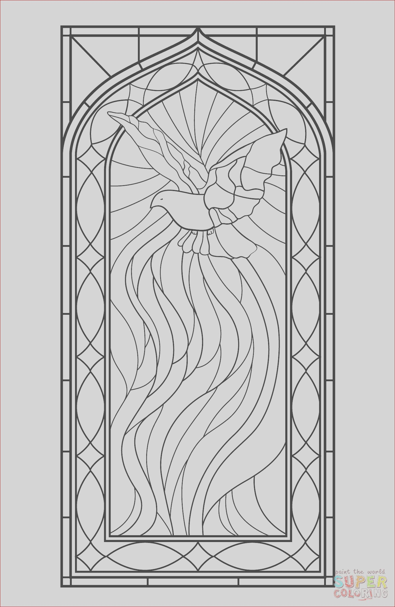 stained glass window with holy spirit